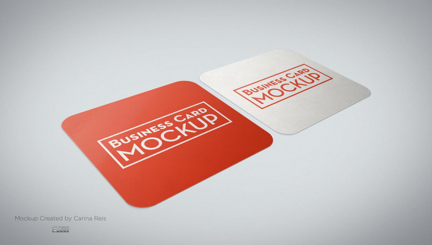 موکاپ کارت ویزیت مربع لمینت دورگرد laminet card mockup
