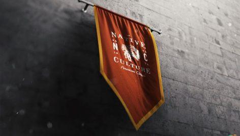 موکاپ پرچم آویزان