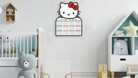 تقویم ۱۴۰۰ بچه گانه برای نصب در اتاق کودک با طرح کیتی